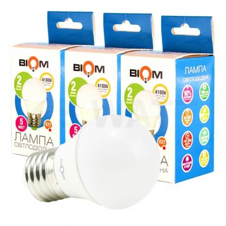 Комплект LED ламп BIOM G45 4W 3000K E27 (по 3 шт.)