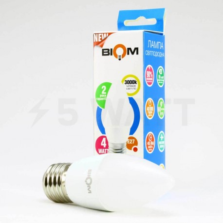 Светодиодная лампа Biom BT-547 C37 4W E27 3000К матовая - в Украине
