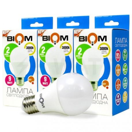 Набор LED ламп BIOM A60 9W 3000K E27 (по 3 шт.) - купить