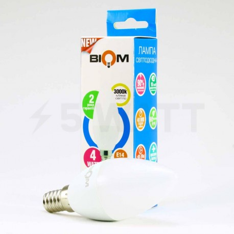 Світлодіодна лампа Biom BT-549 C37 4W E14 3000К матова - недорого