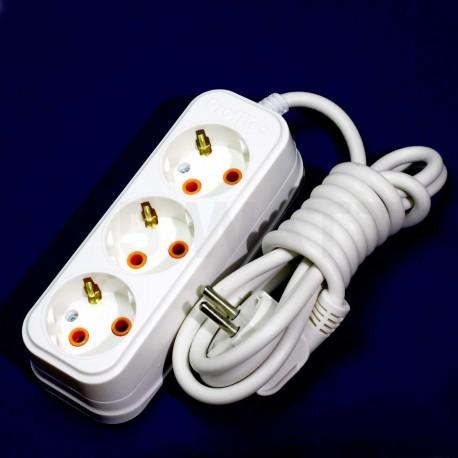 Подовжувач із заземленням і кнопкою Profitec 3гн. 2м., Білий (PRFGRP 1010300202) - недорого