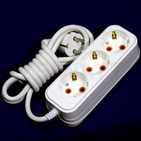 Подовжувач із заземленням і кнопкою Profitec 3гн. 2м., Білий (PRFGRP 1010300202) - в Україні