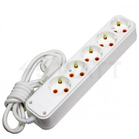 Удлинитель с заземлением и кнопкой Profitec 5гн. 5м., белый (PRFGRP 1010500205) - купить