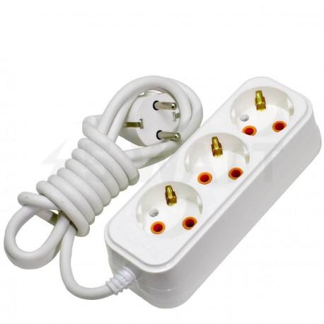 Удлинитель с заземлением и кнопкой Profitec 3гн. 5м., белый (PRFGRP 1010300205) - купить