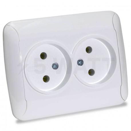 Электрическая двойная розетка Gunsan Fantasy белая, без заземления (1231164100149) - купить