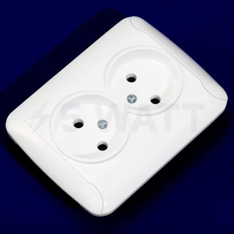 Электрическая двойная розетка Gunsan Fantasy белая, без заземления (1231164100149) - недорого