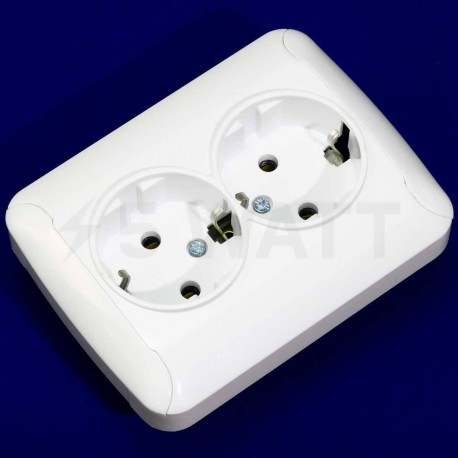 Електрична подвійна розетка Gunsan Fantasy біла, із заземленням (1231164100150) - недорого