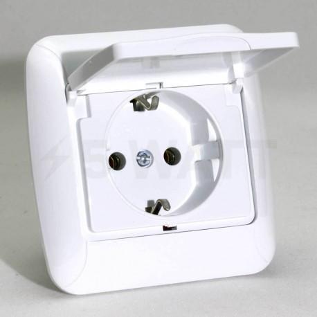 Електрична одинарна розетка с крышкой Gunsan Fantasy біла, із заземленням (1231100161117) - недорого
