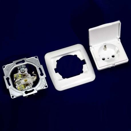 Электрическая одинарная розетка с крышкой Gunsan Fantasy белая, с заземлением (1231100161117) - магазин светодиодной LED продукции