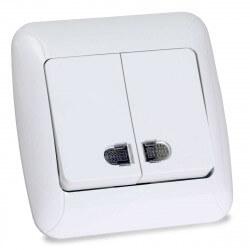 Выключатель двухклавишный Gunsan Fantasy белый, с подсветкой (1231100161104)