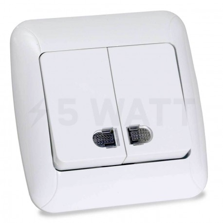 Выключатель двухклавишный Gunsan Fantasy белый, с подсветкой (1231100161104) - купить