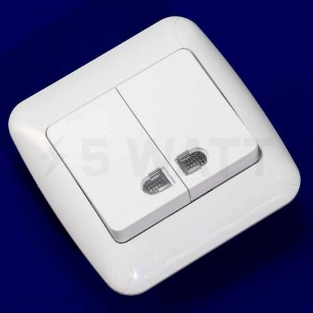 Выключатель двухклавишный Gunsan Fantasy белый, с подсветкой (1231100161104) - недорого
