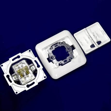 Выключатель двухклавишный Gunsan Fantasy белый, с подсветкой (1231100161104) - в интернет-магазине