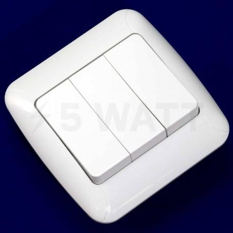 Вимикач трёхклавішний Gunsan Fantasy білий (1231100161160) - недорого