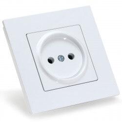 Электрическая одинарная розетка Gunsan Eqona белая, без заземления (1401100100113)