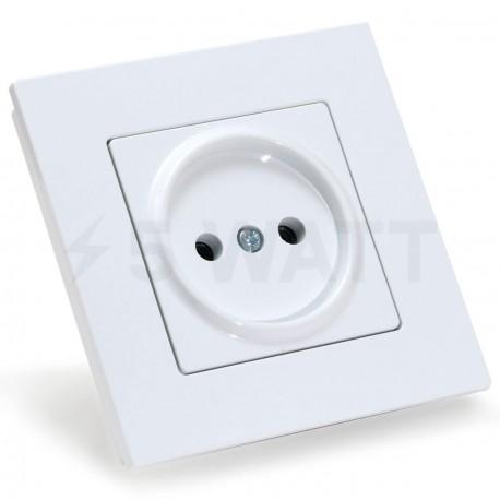 Електрична одинарна розетка Gunsan Eqona біла, без заземлення (1401100100113) - придбати