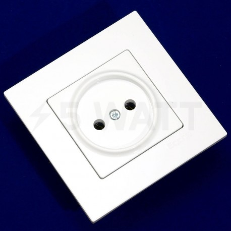 Электрическая одинарная розетка Gunsan Eqona белая, без заземления (1401100100113) - недорого