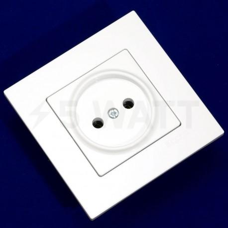 Електрична одинарна розетка Gunsan Eqona біла, без заземлення (1401100100113) - недорого