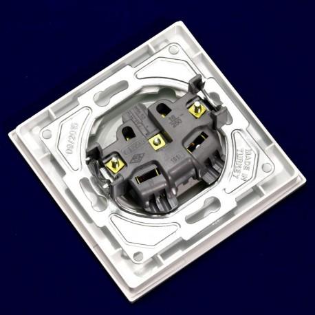 Електрична одинарна розетка Gunsan Eqona біла, без заземлення (1401100100113) - в Україні
