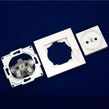 Електрична одинарна розетка Gunsan Eqona біла, без заземлення (1401100100113) - в інтернет-магазині