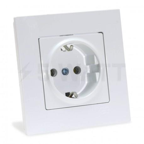 Электрическая одинарная розетка Gunsan Eqona белая, с заземлением (1401100100115 ) - купить