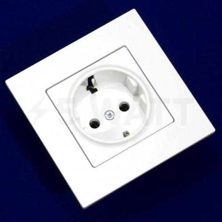 Електрична одинарна розетка Gunsan Eqona біла, із заземленням (1401100100115 ) - недорого