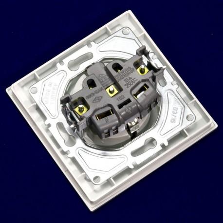 Електрична одинарна розетка Gunsan Eqona біла, із заземленням (1401100100115 ) - в Україні