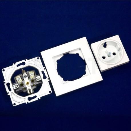 Електрична одинарна розетка Gunsan Eqona біла, із заземленням (1401100100115 ) - в інтернет-магазині