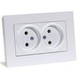 Електрична подвійна розетка Gunsan Eqona біла, без заземлення (1401100100149)