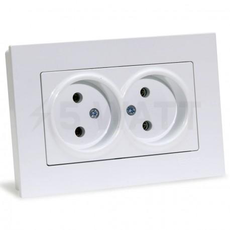 Електрична подвійна розетка Gunsan Eqona біла, без заземлення (1401100100149) - придбати