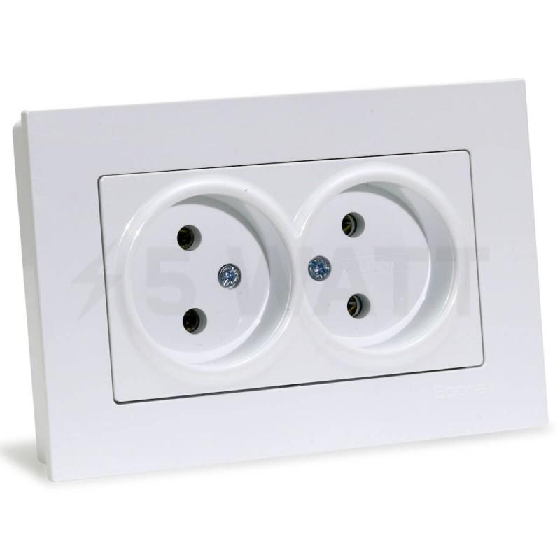 Электрическая двойная розетка Gunsan Eqona белая, без заземления  (1401100100149) - купить ... 61cd738edda