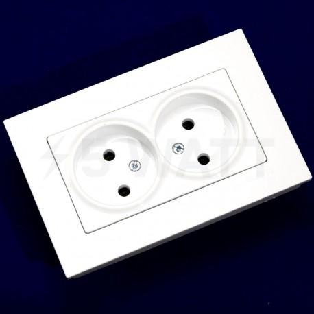 Електрична подвійна розетка Gunsan Eqona біла, без заземлення (1401100100149) - недорого