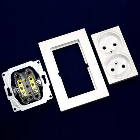 Электрическая двойная розетка Gunsan Eqona белая, без заземления (1401100100149) - в Украине