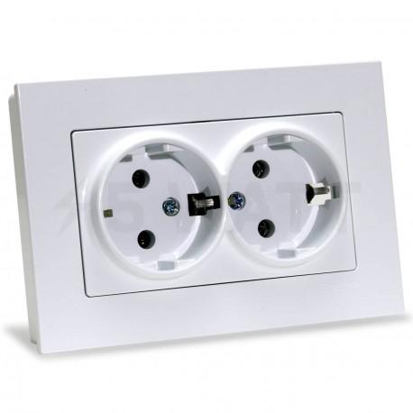 Электрическая двойная розетка Gunsan Eqona белая, с заземлением (1401100100150 ) - купить