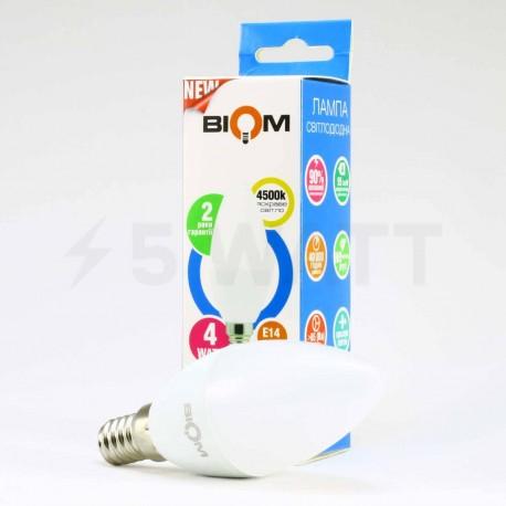 Светодиодная лампа Biom BT-550 C37 4W E14 4500К матовая - в Украине