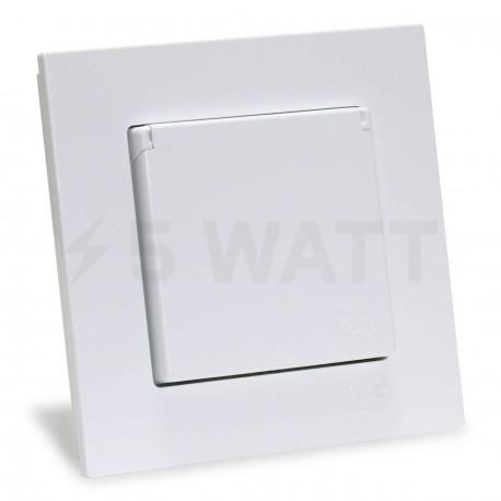 Электрическая одинарная розетка с крышкой Gunsan Eqona белая, с заземлением (1401100100117) - купить