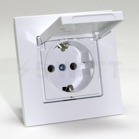 Електрична одинарна розетка с крышкой Gunsan Eqona біла, із заземленням (1401100100117) - недорого