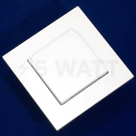 Електрична одинарна розетка с крышкой Gunsan Eqona біла, із заземленням (1401100100117) - в Україні