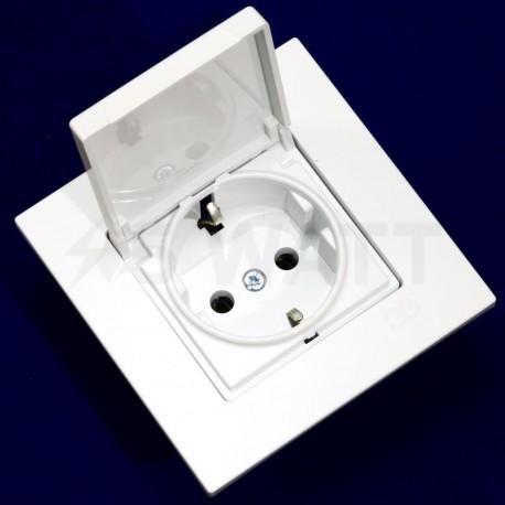 Електрична одинарна розетка с крышкой Gunsan Eqona біла, із заземленням (1401100100117) - магазин світлодіодної LED продукції