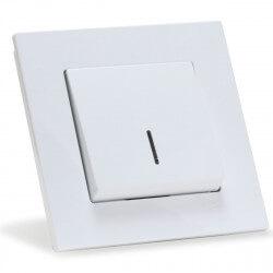 Выключатель одноклавишный Gunsan Eqona белый, с подсветкой (1401100100102)