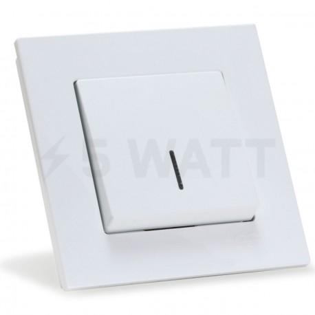 Выключатель одноклавишный Gunsan Eqona белый, с подсветкой (1401100100102) - купить