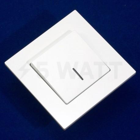 Вимикач одноклавішний Gunsan Eqona білий, з підсвічуванням (1401100100102) - недорого