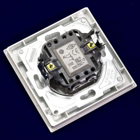 Выключатель одноклавишный Gunsan Eqona белый, с подсветкой (1401100100102) - в Украине