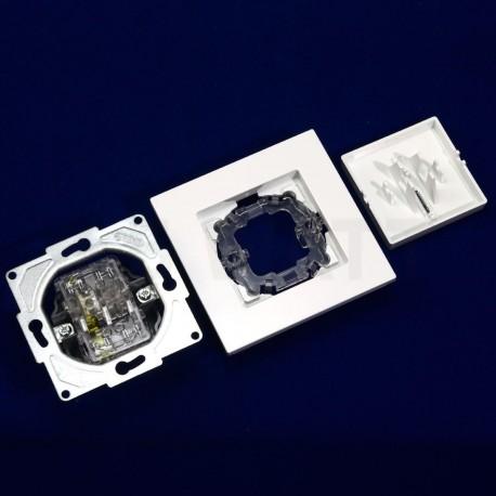 Выключатель одноклавишный Gunsan Eqona белый, с подсветкой (1401100100102) - в интернет-магазине