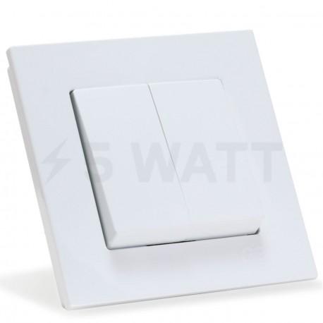 Выключатель двухклавишный Gunsan Eqona белый (1401100100103) - купить