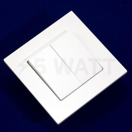 Вимикач двоклавішний Gunsan Eqona білий (1401100100103) - недорого