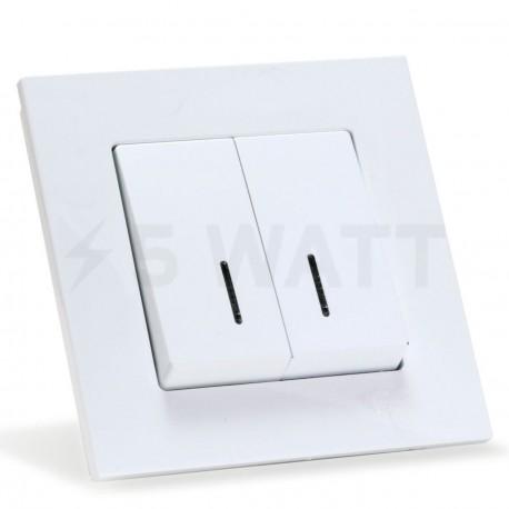 Выключатель двухклавишный Gunsan Eqona белый, с подсветкой (1401100100104 ) - купить