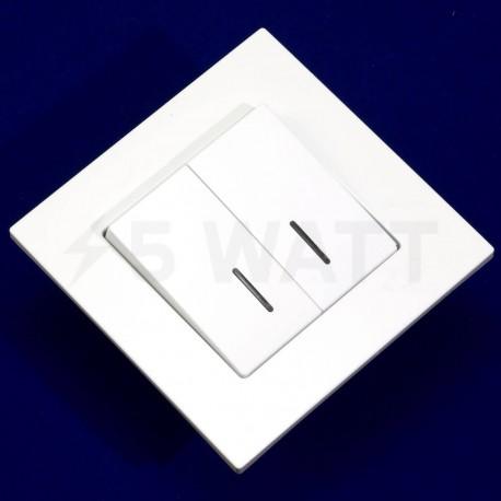 Вимикач двоклавішний Gunsan Eqona білий, з підсвічуванням (1401100100104 ) - недорого