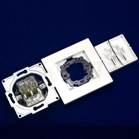 Вимикач двоклавішний Gunsan Eqona білий, з підсвічуванням (1401100100104 ) - в інтернет-магазині