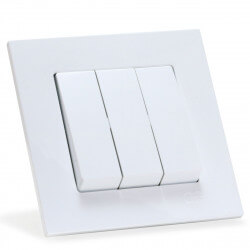Выключатель трёхклавишный Gunsan Eqona белый (1401100100160)